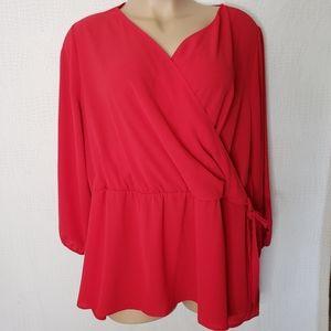 NEW Lane Bryant Red Faux Wrap Top Plus Size 26W